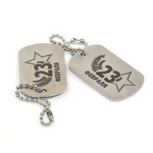 Гравировка на армейском жетоне из металла - Русский стиль - Студия лазерной гравировки