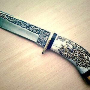 Гравировка на охотничьем ноже - Русский стиль - Студия лазерной гравировки