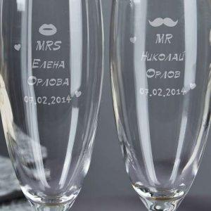 Свадебная гравировка на бокалах - Русский стиль - Студия лазерной гравировки